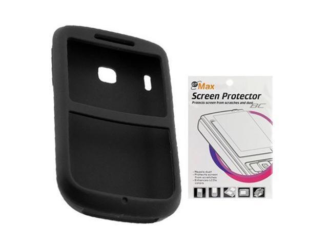 Black Silicone Skin Case + Screen Protector for HTC Ozone / XV6175