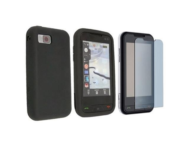 Durable Black Silicone Soft Rubber Case Cover + Custom LCD Screen Protector for ATT Samsung Eternity A867