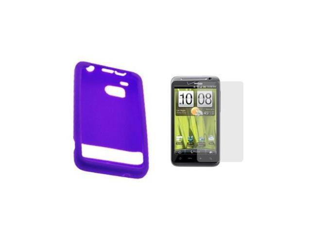 Purple Silicone Skin Soft Cover Case + LCD Screen Protector for Verizon HTC ThunderBolt