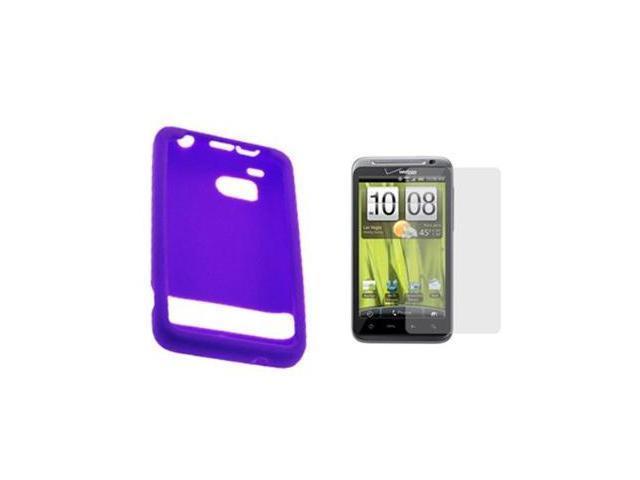 Purple Silicone Skin Soft Cover Case + LCD Screen Protector for Verizon HTC ThunderBolt