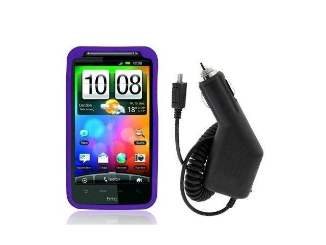 Purple Silicone Rubber Gel Soft Skin Case Cover + Car Vehicle Charger Accessories for HTC Verizon Thunderbolt / Incredible HD Phone New