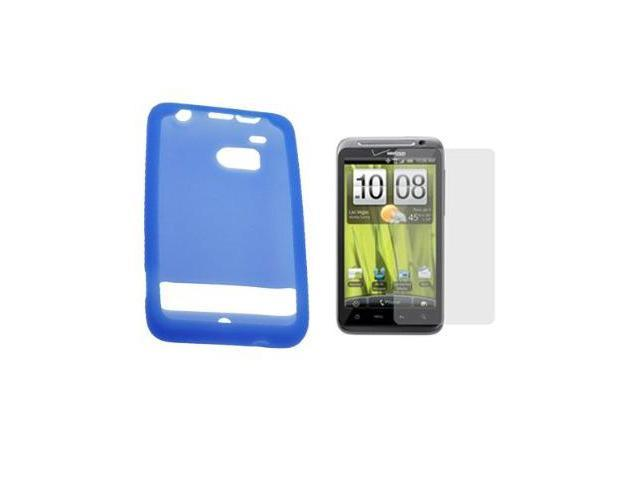 Fosmon Blue Silicone Skin Soft Cover Case + LCD Screen Protector for Verizon HTC ThunderBolt