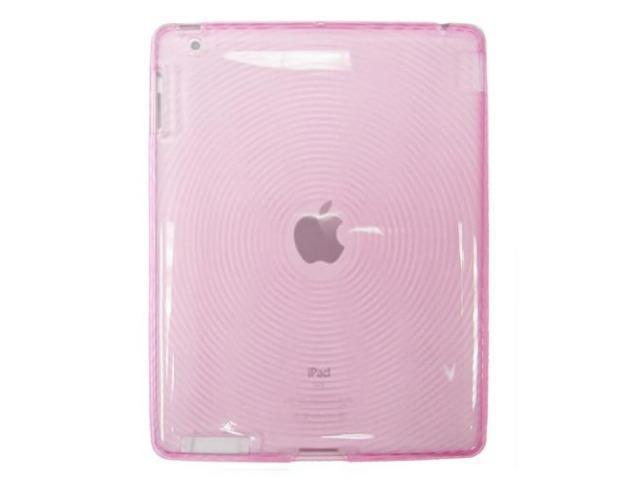 Transparent Pink TPU Slim Crystal Silicone Skin w/ Circle Design for Apple iPad 2 / 2nd Gen