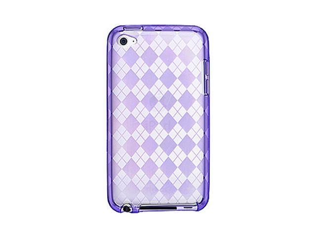 Purple Argyle High Gloss TPU Skin Case for Apple iPod touch 4th Gen