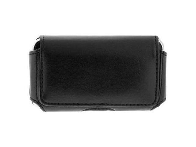 Horizontal Black Leather Case with Clip for Motorola Cliq MB200