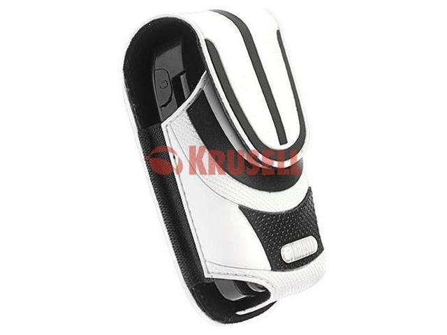 Krusell Performer Medium White Black Leather Case Multidapt with Spring clip