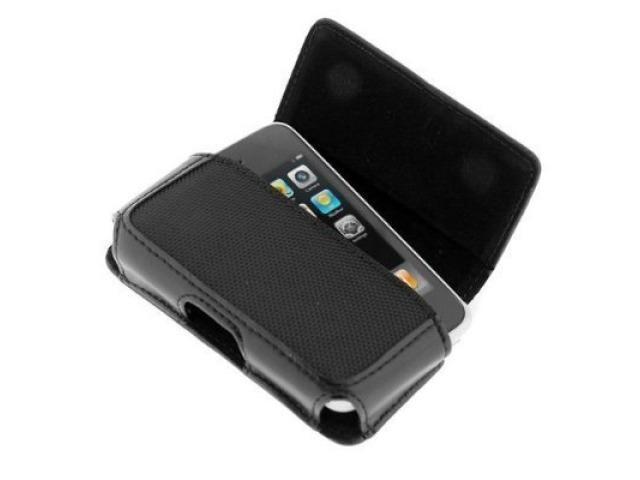 Fosmon Horizontal Black Leather Case for Verizon Apple iPhone 4 / iPhone 4S