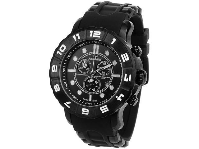 Aquaswiss 96XG068 Black Rugged Quartz Chronograph Rubber Strap