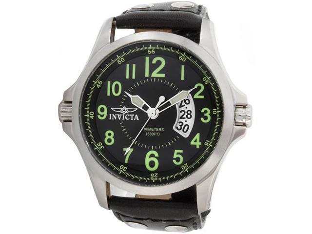 Invicta 0789 Stainless Steel Quartz Black Dial Leather Strap