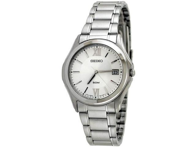 Seiko SGEF25 Stainless Steel Silver Tone Dial Dress Link Bracelet Midsize