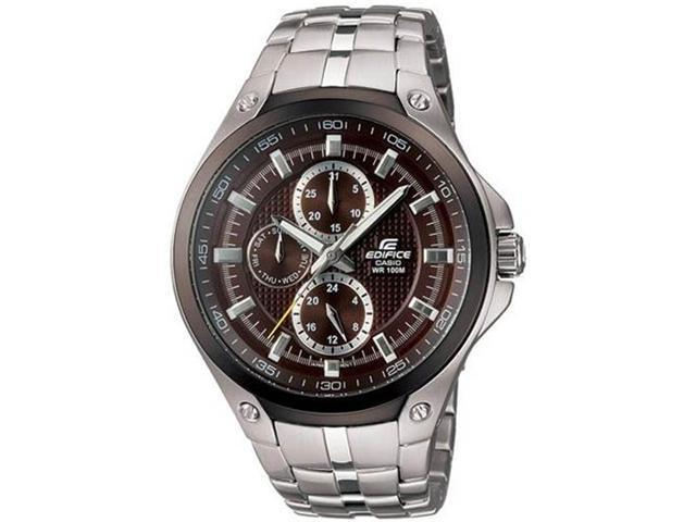 Casio EF326D-5AV Stainless Steel Edifice Brown Dial Day Date
