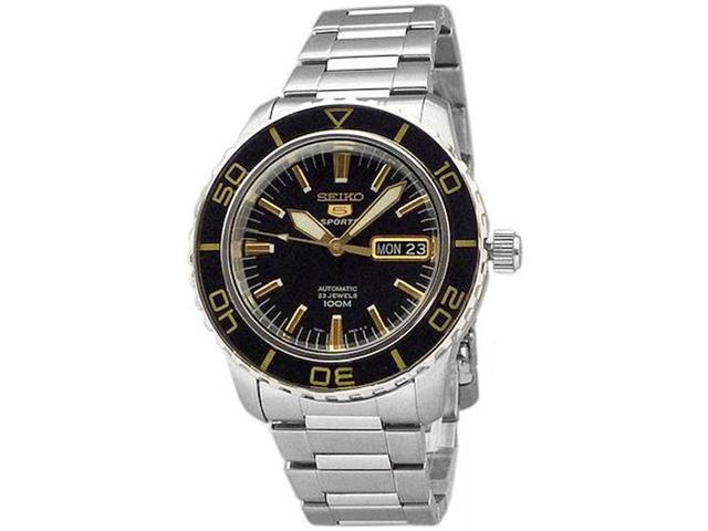 Seiko SNZH57 Stainless Steel Seiko 5 Sports Automatic Two Tone Black Dial Bezel