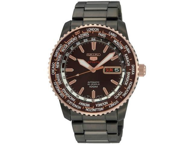 Seiko Seiko 5 Automatic World Time Brown Dial Stainless Steel Mens Watch SRP132