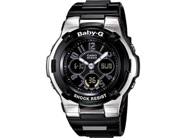 Casio BGA110-1B2 Stainless Steel Baby-G Analog Digital Black Dial Resin