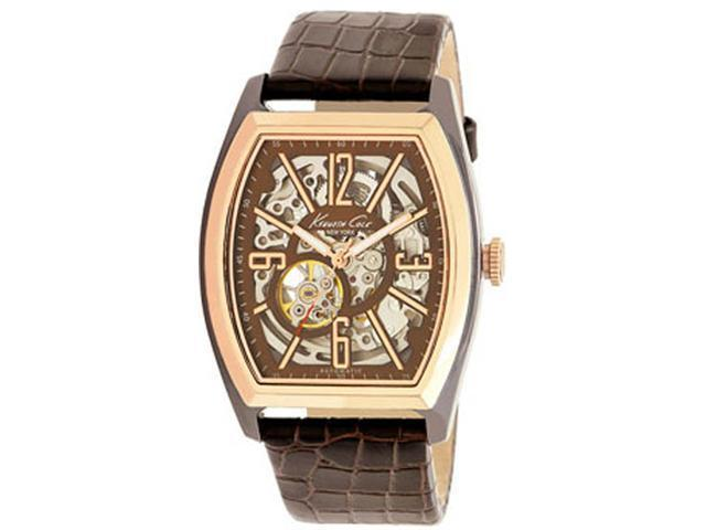 Kenneth Cole KC1791 Automatic Rose-Gold Tone Stainless Steel Skeleton Brown Dial