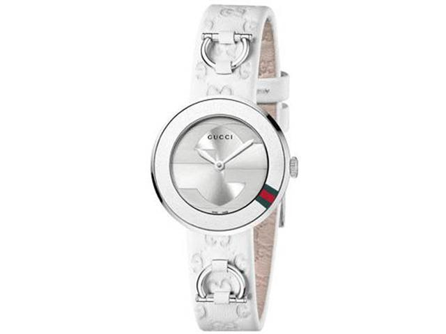 Gucci U Play Silver Dial White Leather Strap Ladies Watch YA129509