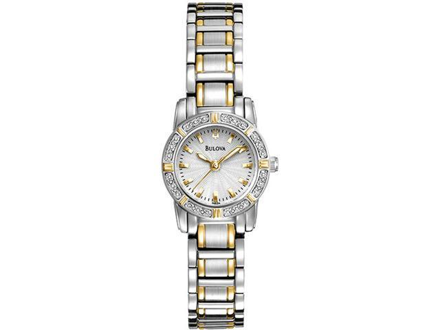 Bulova 98R155 Two Tone Stainless Steel Highbridge Quartz White Dial Diamond Accents