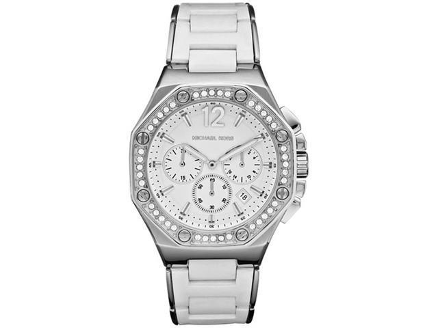 Michael Kors MK5563 Stainless Steel Chronograph Quartz Silver Dial Swarovski Crystals Silicone Band