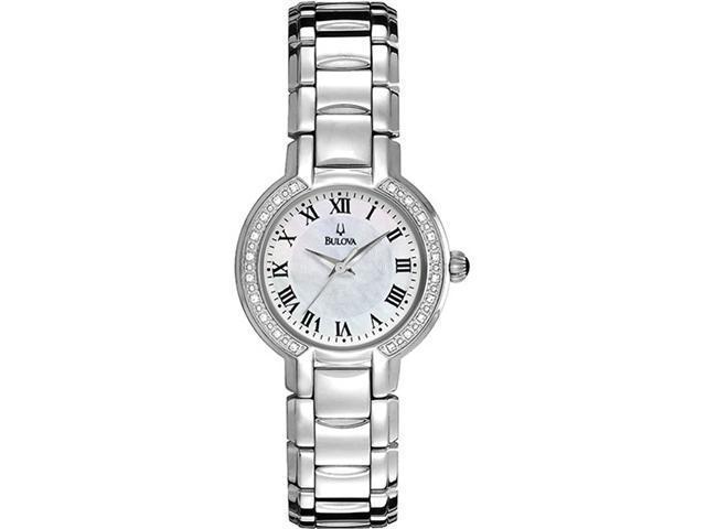 Bulova 96R159 Stainless Steel Mother of Pearl Diamond Dress Watch