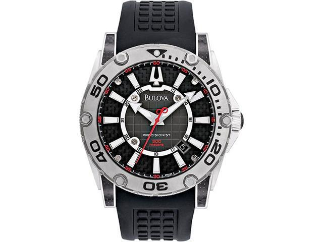 Bulova Precisionist Champlain Black Dial Mens Watch 96B155