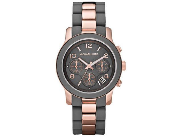 Michael Kors Silicone Runway Rose Gold-tone Chronograph Ladies Watch MK5465