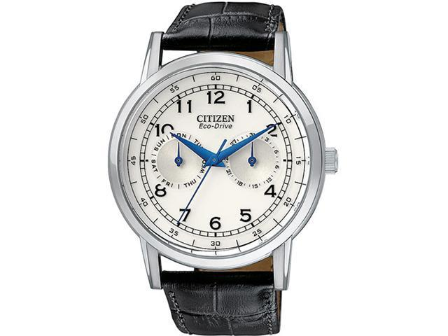 Citizen AO9000-06B Stainless Steel Case Eco-Drive Silver Dial Day and Date Display Black Leather Strap