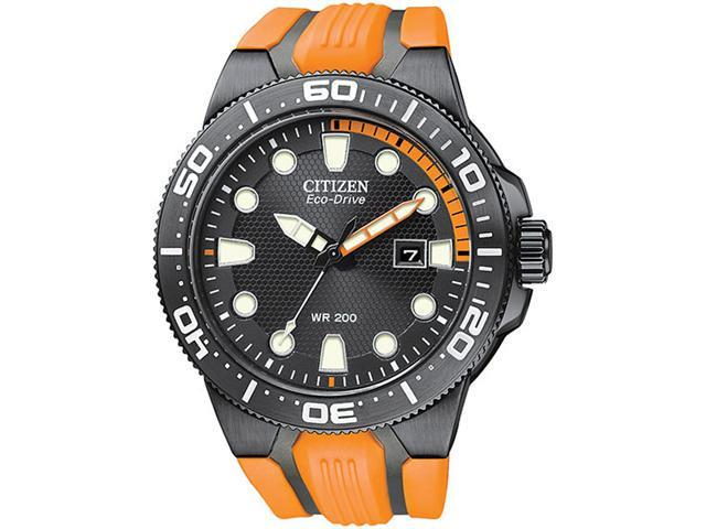 Citizen BN0097-11E Scuba Fins Eco-Drive Stainless Steel Case Black Dial Date Display Orange Rubber Strap