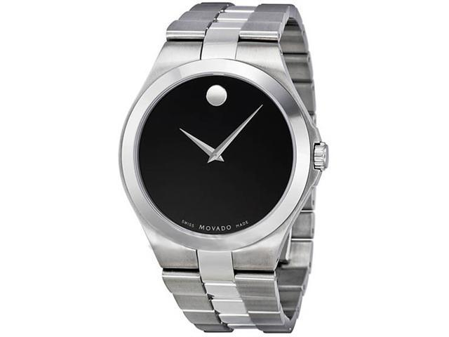 Movado Black Dial Stainless Steel Mens Watch 0606555