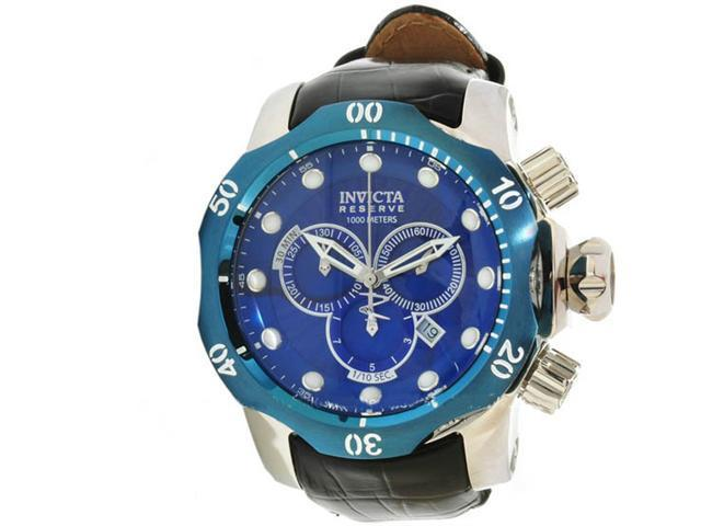 Invicta 10780 Stainless Steel Reserve Venom Quartz Chronograph Diver Blue Dial Leather Strap