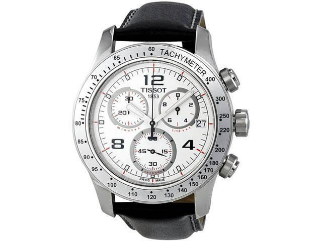 Tissot T0394171603702 Stainless Steel Quartz Chronograph V8 White Dial Black Leather Strap