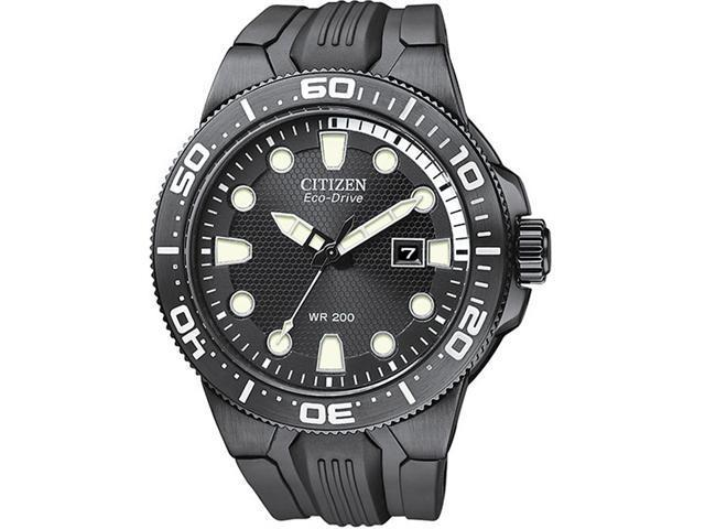Citizen BN0095-08E Scuba Fins Eco-Drive Stainless Steel Case Black Dial Date Display Black Rubber Strap