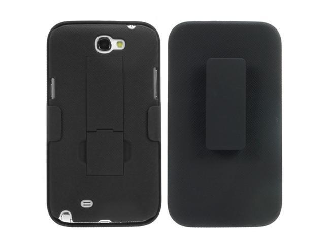 GTMax Holster Hard Shell Protective Snap-On Case Cover w/ Kickstand for Samsung Galaxy Note 2 II N7100 - Black