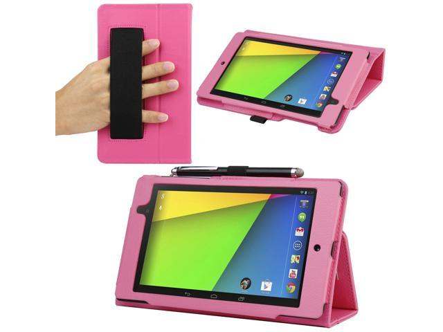 Evecase® SlimBook Folio Classic Leather Case Auto Sleep/Wake Cover for Google Nexus 7 FHD - 7'' Nexus 7 II / 2nd Gen 2013 Android Tablet - Hot Pink (with Built-in Elastic Hand Strap)