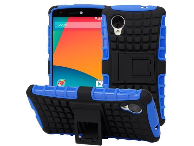 Evecase OFFROAD Rugged Ultra Grip Dual Layer Case with Kick-Stand for Google Nexus 5 - Black