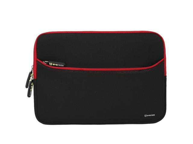 "Evecase Neoprene Zipper Carrying Case with Accessory Pocket Perfect Fit for Dell Latitude E7240-12.5"" - Black with Red Trim"