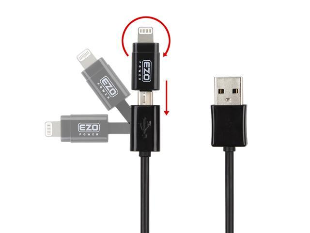 EZOPower 2 in 1 Apple Certified 8-Pin Lightning Connector + Micro-USB Sync & Charge Cable for iPhone SE, 6s /6s Plus, 6 /6 Plus, 5S, iPad Pro, Air 2, iPad 4, iPad Mini 4, iPod Touch 6, Nano 7