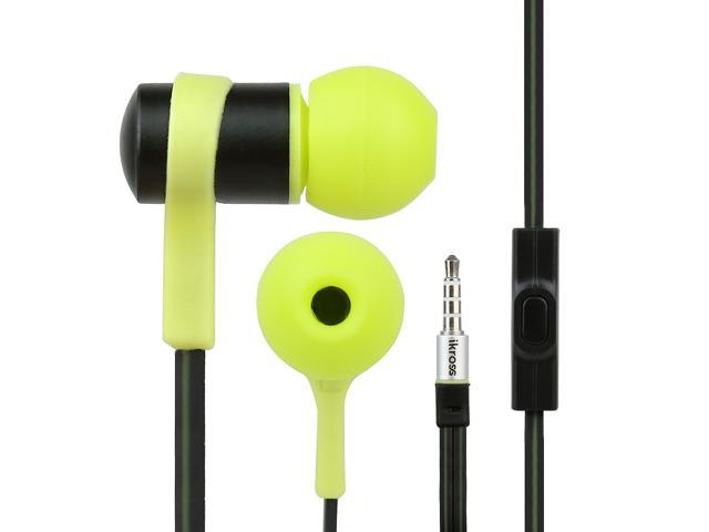 iKross In-Ear 3.5mm Noise-Isolation Stereo Flat Cable Tangle Free Earbuds with Microphone For Samsung Galaxy, Blackberry, ...
