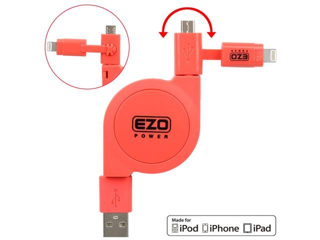 EZOPower 2 in 1 Apple Certified Lightning Connector + Micro USB Charge & Sync Retractable Cable for iPhone 6s /6s Plus, 6 /6 Plus, 5S, iPad Pro, Air 2, iPad 4, iPad Mini 4, iPod Touch 6, Nano 7 - Pink