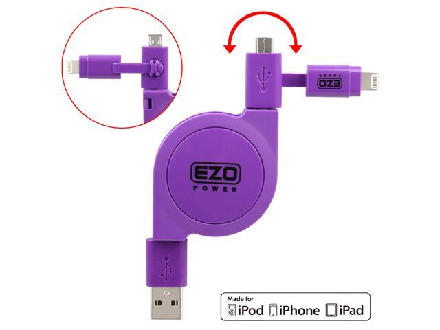 EZOPower 2 in 1 Apple Certified Lightning Connector + Micro USB Charge & Sync Retractable Cable for iPhone 6s/6s Plus, 6/6 ...