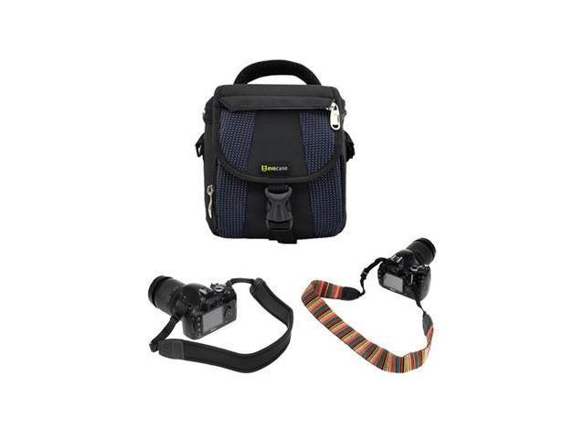 EveCase Universal Camera Case EVCAM10 + Camera Neospreo Neck Strap + Stripe Camera Neck Strap for Canon EOS Rebel T3 (EOS 1100D), EOS Rebel T3i (EOS 600D), PowerShot SX30 IS
