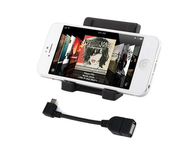 iKross Black Universal Portable Collapsible Desk Stand holder + Micro USB OTG to USB 2.0 Adapter for Samsung Galaxy Note ...