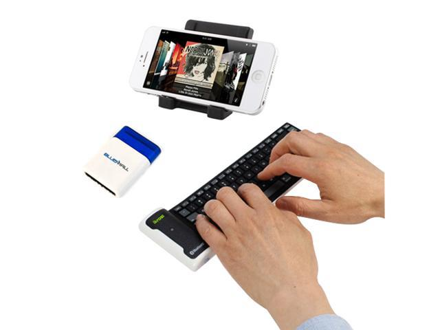 iKross Portable Folding Stand + Bluetooth Wireless Flexible Keyboard + Mini Screen Brush for Apple iPhone 4S, 4, 3G S&#59; Samsung ...