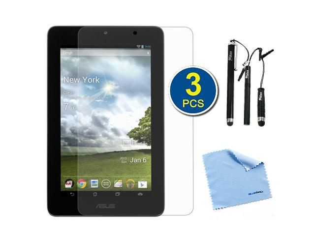 BIRUGEAR 3-Pack Premium HD Guard Film Clear LCD Screen Protectors plus 3pcs Black Stylus for Asus Memo Pad ME172V 7-Inch Android Tablet with *Microfiber Cloth*