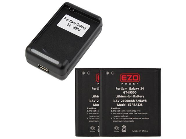 EZOPower 2x 2100mAh Standard Lithium-Ion Replacement Battery + Charger for Samsung Galaxy S IV / S4 GT-I9500 (AT&T, Verizon, T-Mobile, Sprint)