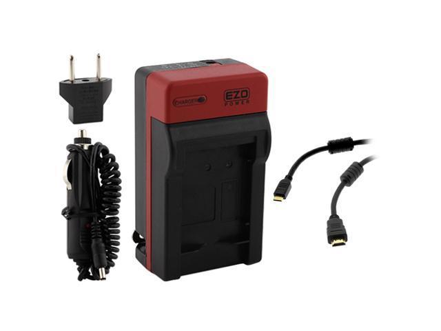 EZOPower Travel Charger with EU / Car Adapter + Mini HDMI + Accessory Case for Nikon 1 V2 HD Digital Camera (Compatible with Nikon EN-EL21/ MH-28)