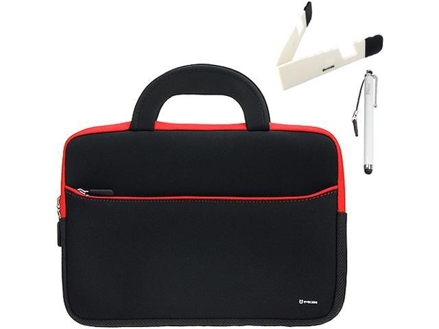 BIRUGEAR10.6~12 inch Tablet, Netbooks Ultraportable Neoprene Zipper Carrying Case + Foldable Stand & Stylus for Samsung ATIV XE500T1C Smart PC 500T / Samsung ATIV XE700T1C Smart PC Pro 700T and More