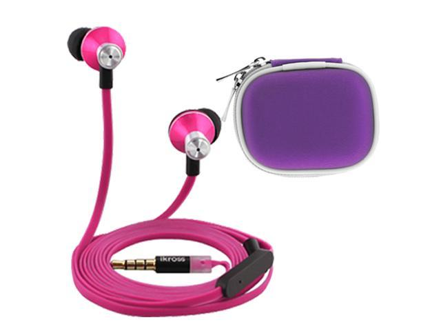 iKross In-Ear 3.5mm Noise-Isolation Stereo Earbuds with Microphone + Purple Accessories Carrying Case for Microsoft Surface with Windows 8 Pro/ RT, MeMO Pad Smart 10 ME301T, Tablet Smartphone and More