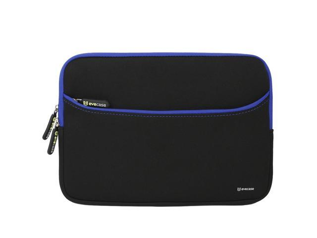 Evecase Neoprene Sleeve Case with Front Exterior Accessory Pocket for Laptops and Ultrabooks such as Macbook Air or other 11.6 inch Laptops - Black with Blue Trim