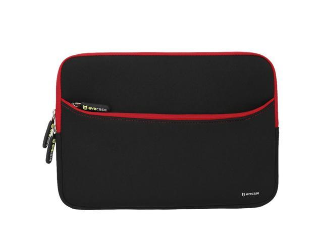 Evecase Neoprene Sleeve Case with Front Exterior Accessory Pocket for Laptops and Ultrabooks such as Macbook Air or other 11.6 inch Laptops - Black with Red Trim