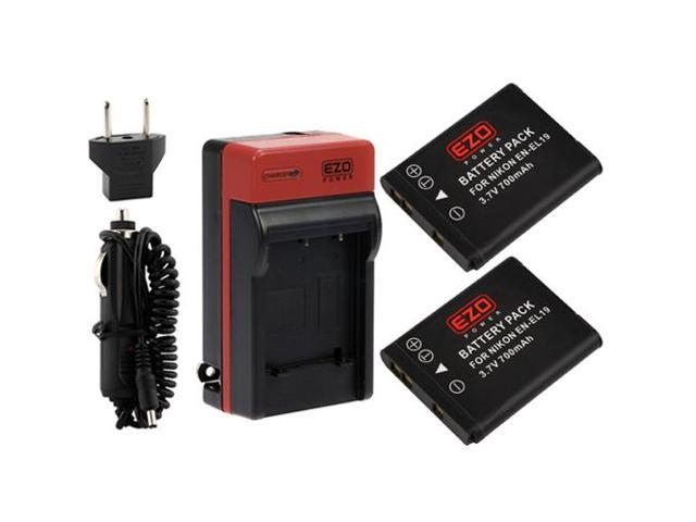 EZOPower EN-EL19 Batteries and MH-66 AC Charger Kit for Nikon Coolpix S32, S6800, S6700, S6600, S6500, S6400, S5300, S5200, ...
